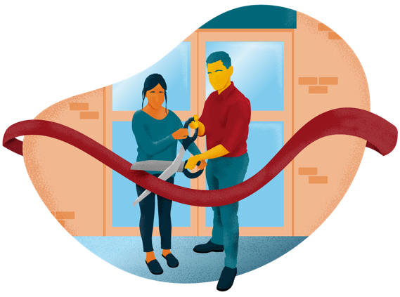 Illustration of man and woman cutting a ribbon to a new building