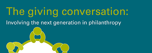 The giving conversation: Involving the next generation in philanthropy header image, text and icons of people sitting around a table