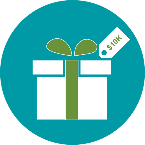 ten thousand dollar gift image, white box with a green bow on a teal background